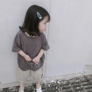 キッズ tシャツ 男の子 女の子 ワンポイント 半袖 かいじゅう シンプル ベーシック チャコール かいじゅう刺繍TEE【T075】|olpemi
