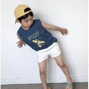 男の子 女の子 ボーイズ ガールズ キッズ 子供服 こども服 夏服 ノースリーブ SURFノースリーブTEE ネイビー【T085】|olpemi
