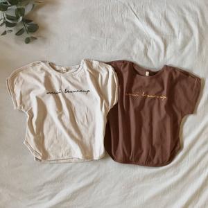 キッズ Tシャツ 半袖 ロゴ シンプル ベーシック ニュアンスカラー くすみカラー アースカラー ナチュラル ロゴTEE【T101】|olpemi