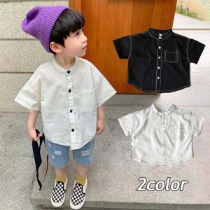 韓国子供服 シャツ 男の子 女の子 おしゃれ キッズ 80 90 100 110 120 130 140 ステッチデザインノーカラーシャツ T125|olpemi