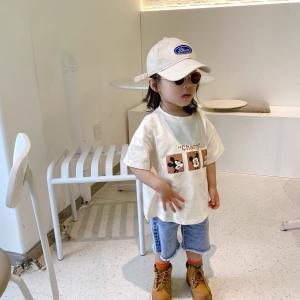 キッズ Tシャツ おしゃれ 韓国子供服 女の子 男の子 子ども服 80 90 100 110 120 130 140 キャラポイントTEE T134|olpemi