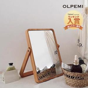 韓国インテリア 雑貨 ミラー おしゃれ 鏡 かわいい 卓上ミラー アンティーク 木製 スタンド 立てかけ ウッドミラー Z009 olpemi