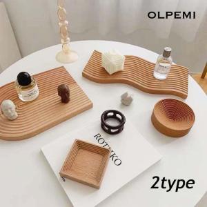 ウッドトレイ トレー アーチ ウェーブ  ナチュラル 木製 韓国インテリア ディスプレイ オブジェ 北欧 ウッドオーナメント Z023 olpemi