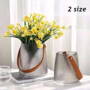 花瓶 おしゃれ 一輪挿し 韓国インテリア フラワーベース 雑貨 ドライフラワー ディスプレイ 北欧 レザーベルトフラワーベース Z030|olpemi