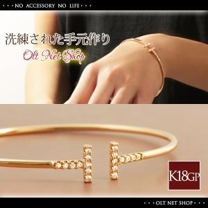 バングル ブレスレット レディース 18金 ダイヤ 18K ピンクゴールド K18 / T字 デザイン|olt-netshop