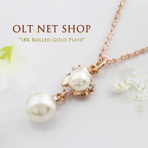ネックレス 18金 レディース パール 真珠 ダイヤ 18K ピンクゴールド チェーン K18|olt-netshop