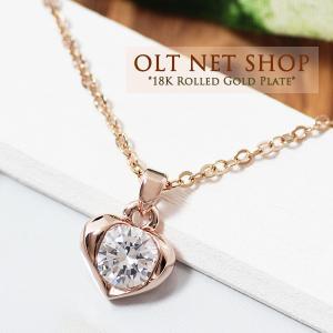 ネックレス 18金 レディース ハート ダイヤ K18 ピンクゴールド チェーン / 一粒 / 18K 刻印 olt-netshop