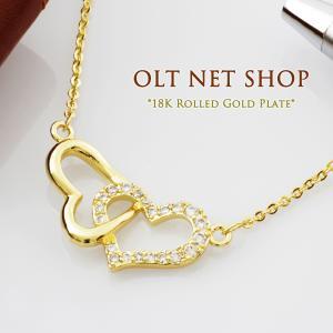 ネックレス 18金 レディース オープンハート ダイヤ K18 イエローゴールド チェーン / 18K 刻印|olt-netshop