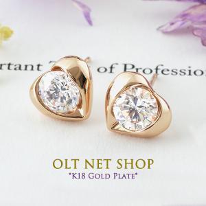 ピアス 18金 18K レディース 一粒 ハート ダイヤ ピンクゴールド K18|olt-netshop