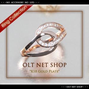 指輪 リング レディース 18金 18K czダイヤ ピンクゴールド シンプル / ティアドロップ / K18GP 刻印|olt-netshop
