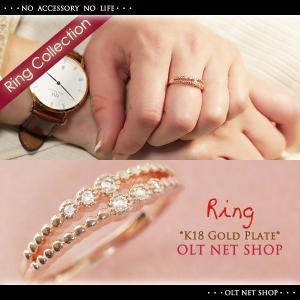 指輪 リング レディース 18金 18K czダイヤ 6石 ピンクゴールド シンプル 2連 / K18GP 刻印|olt-netshop