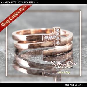指輪 リング レディース 18金 18K czダイヤ ピンクゴールド / T字 デザイン / K18GP 刻印|olt-netshop