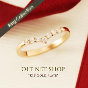 指輪 レディース V字 リング 細身 細め 細い スリム 華奢 重ねづけ 重ね付け czダイヤ 18金 ピンクゴールド K18GP 刻印|olt-netshop