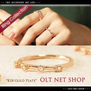 指輪 リング レディース 18金 18K czダイヤ 4石 華奢 / ピンクゴールド シンプル 重ね着け K18GP 刻印|olt-netshop