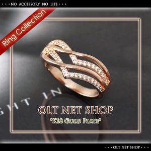 指輪 リング レディース 18金 18K czダイヤ ピンクゴールド / V字 / K18GP 刻印|olt-netshop