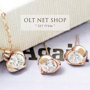 ネックレス ピアス セット / 一粒 ハート / レディース 18金 18KRGP czダイヤ ピンクゴールド K18GP|olt-netshop