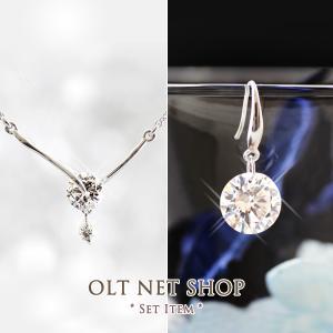 ネックレス ピアス セット / メタルラインバー Y字 / 一粒 ダイヤ 2.0ct フック / レディース|olt-netshop