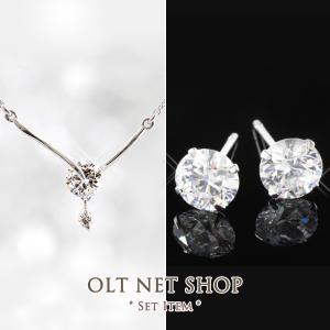 ネックレス ピアス セット / メタルラインバー Y字 / 一粒 ダイヤ 0.75ct / レディース|olt-netshop