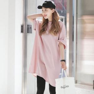 Tシャツ レディース カットソー ビッグTシャツ ビッグT オーバーサイズ ビッグシルエット ゆったり かわいい オシャレ ママファッション 2019春新作 春夏新作|olulu