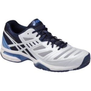 【SALE!】アシックス プレステージライト AC-スリム 15FW テニスシューズ TLL764-0149 (ホワイト×ミッドナイトブルー)|om-sports