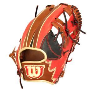 ウィルソン 一般用 The Wannabe Hero 内野手用 5WH 17SS 軟式グラブ WTARHQ5WH-90285 (ブラック×Eオレンジ×ブラウン)|om-sports