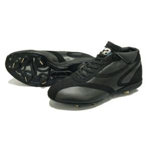 ザナックス 樹脂底ミドルカットスパイク スパイク BS600AM-9090 (ブラック×ブラック)|om-sports