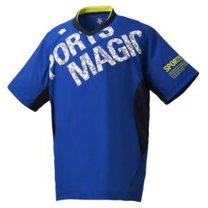 デサント DESCENTE 半袖プラクティスピステ NEW バレーボールシャツ DVUNJK32-BL (ブルー×ホワイト)|om-sports