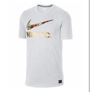 ナイキ Nike FC スウッシュ フラグ Tシャツ 18SU サッカーシャツ 911401-101 (ホワイト/(メタリックゴールド))|om-sports