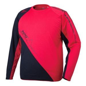 ミズノ ランニング プラクティスTシャツ(長袖) ランニングTシャツ U2MA5512-62 (チャイニーズレッド×ブラック)|om-sports