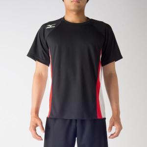 ミズノ プラクティスシャツ 17SS ランニングTシャツ U2MA7040-09 (ブラック×ホワイト×チャイニーズレッド)|om-sports