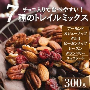 ミックスナッツ 送料無料 ダークチョコ入りナッツ&フルーツ 300g 素焼き ミックスナッツとドライフルーツ トレイルミックス ゆうパケット omamesan
