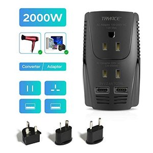 TRYACE 海外旅行用 変圧器 2000W/10A 2-USBポート コンセント変換 UK/AU/...