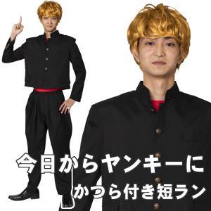 今日から俺は不良です 金髪 学ラン ヤンキー コスプレ かつら 短ラン 制服 上下 コスチューム つ...