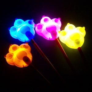 光るおもちゃ 光る棒つき猫の手 12個入 景品 子供 子供会 子ども会 縁日 お祭り 夏祭り ランチ景品 お子様ランチ おもちゃ 玩具 景品玩具|omaturibank