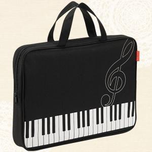 ファスナー付きピアノレッスンバッグ(鍵盤&ト音記号柄)[Pianoline]【音楽トートバッグ】