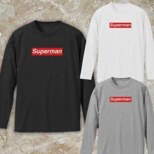 メンズ ロンT パロディ supreme superman ボックスロゴ ブランド