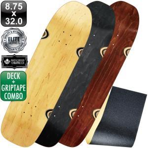 スケボー スケートボード デッキ クルーザー デッキテープ エリート ブランク デッキ 8.75 ナチュラル ブラック 100% メープル コールドプレス 無地 omg-sb