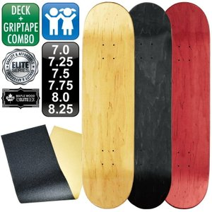 スケボー スケートボード デッキ エリート ブランク 7.0 7.25 7.5 7.75 8.0 8.25 ナチュラル ブラック レッド & グリップテープ omg-sb