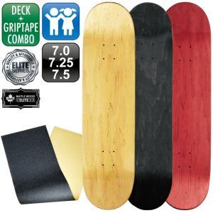 スケボー スケートボード デッキ エリート ブランク 7.0 7.25 7.5 ナチュラル ブラック レッド & グリップテープ 100% メープル コールドプレス 無地 omg-sb