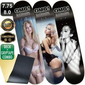 スケボー スケートボード デッキ デッキテープ マスター OMG! BABE セクシー 7.75 8.0 100% カナディアン メープル エポキシグルー 軽量|omg-sb