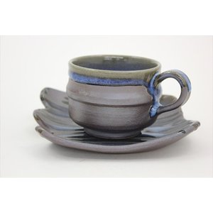 楢岡焼 かけ分けコーヒー碗皿|omiyageakita