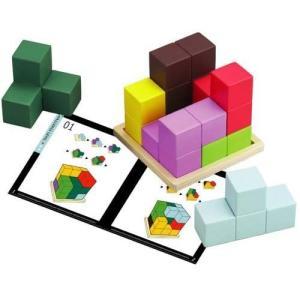 カラフルな7つのブロックで木製プレートの上に立方体を組み立てます。 56種類のパターンを掲載したテキ...