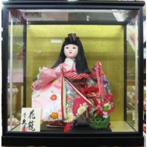 No.304 久月 稚児人形 衣裳着 8号 都友禅 花籠(ガラスケース付)|omomax