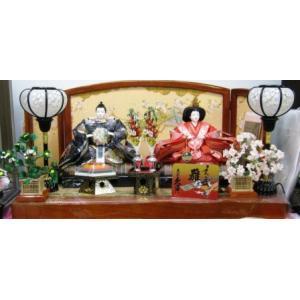No.1017 久月 雛人形 衣裳着親王飾り 華織朱塗平飾り(よろこび雛)|omomax