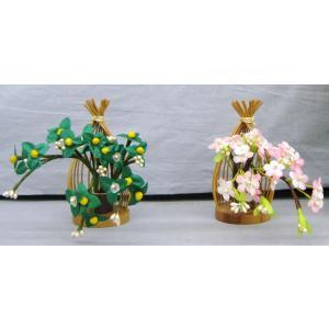 雛人形 雛祭り お雛様 用品 京花 小桜橘 京風 しだれ桜 木製 手作り 工芸品 #6 (サイズ小:約9cm)|omomax