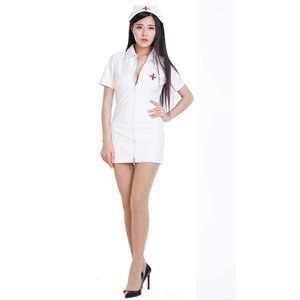 フェイクレザー ナース服+ナース帽子セット 黒色・白色あり|omosirokurabu