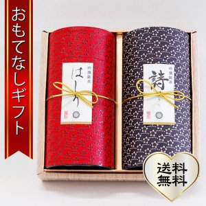 おもてなしギフト 煎茶 静岡県袋井のにしたながお届けする ミル芽のはしりとマイルドな詩のセット 印傳200g缶二本入り|omotenashigift