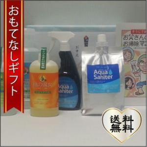 おもてなしギフト 洗剤セット バイオ・ハイテク洗剤の「緑の魔女シリーズ」と仕上げのアクアサニターのセット お父さんを掃除の達人にするお掃除マニュアル付|omotenashigift