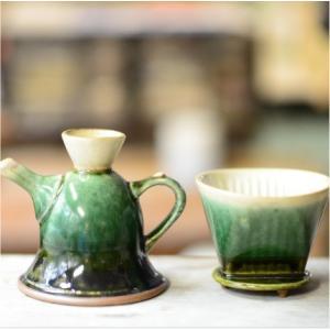 おもてなしギフト 織部焼 土岐の隆月窯の伝統工芸士 陶工 土田育弘が作るうつろひ織部のコーヒーメーカー 他ではできない逸品です|omotenashigift|03