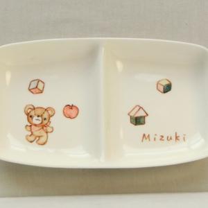 おもてなしギフト 名入れ子供用食器 クレヨンで描いたサチイラストの入った子供用名入れ食器セットA 気持ちを残すメッセージプレート付き|omotenashigift|02